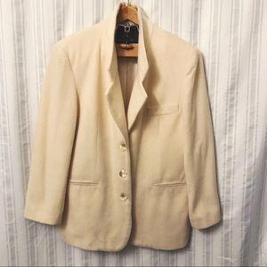 Vintage Express Off white wool cashmere blazer L